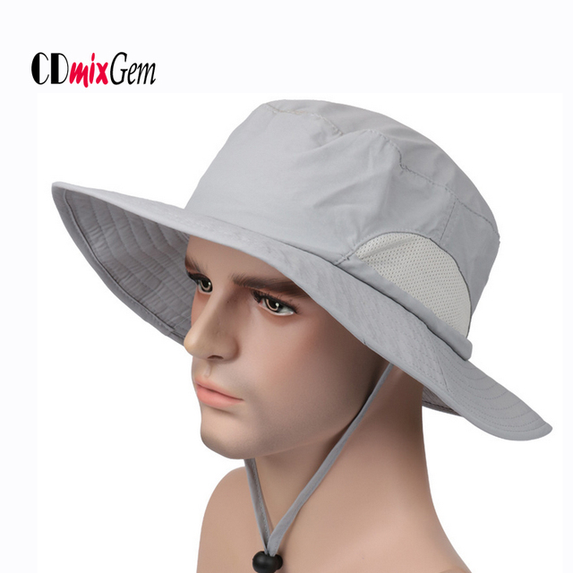 a907222160f Wide Brim Men Women Fishing Hat Bucket Fisherman Hat Cotton Outdoor Summer  Sun UV Protection Cap Anti Mosquito Hat hiking Cap AC