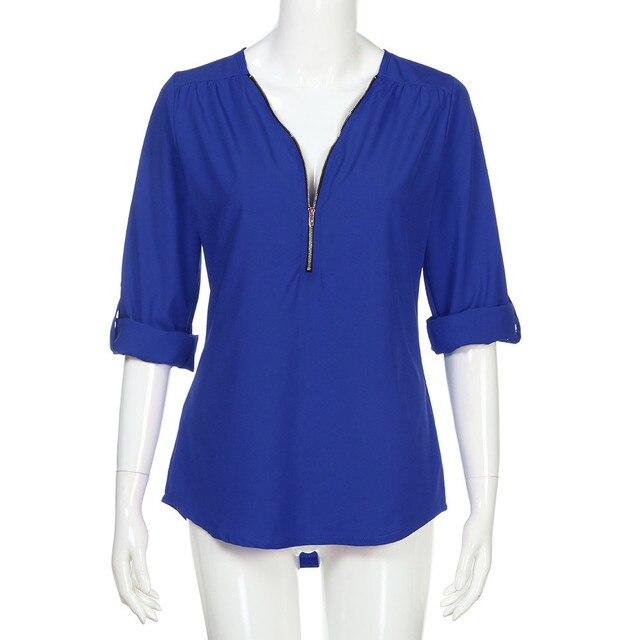 5XL 2021 Autumn Women Chiffon Blouse Large Size Tops Sexy V Neck Loose Casual Blouse Female Zipper Plus Size Blue Shirt Blusas 6