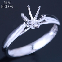 HELON 925 Sterling Silver 5.5 6.5mm Round Classic Solitaire Semi Mount Engagement Wedding Women Jewelry Ring Setting wholesale
