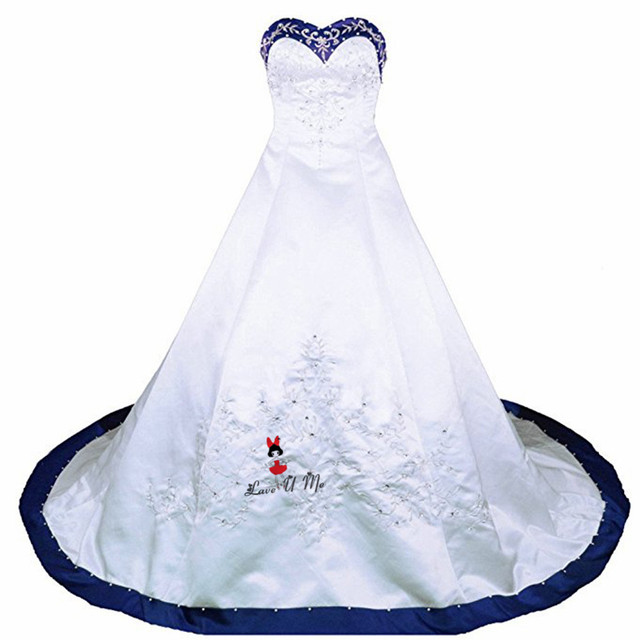 Vestido de boda blanco azul