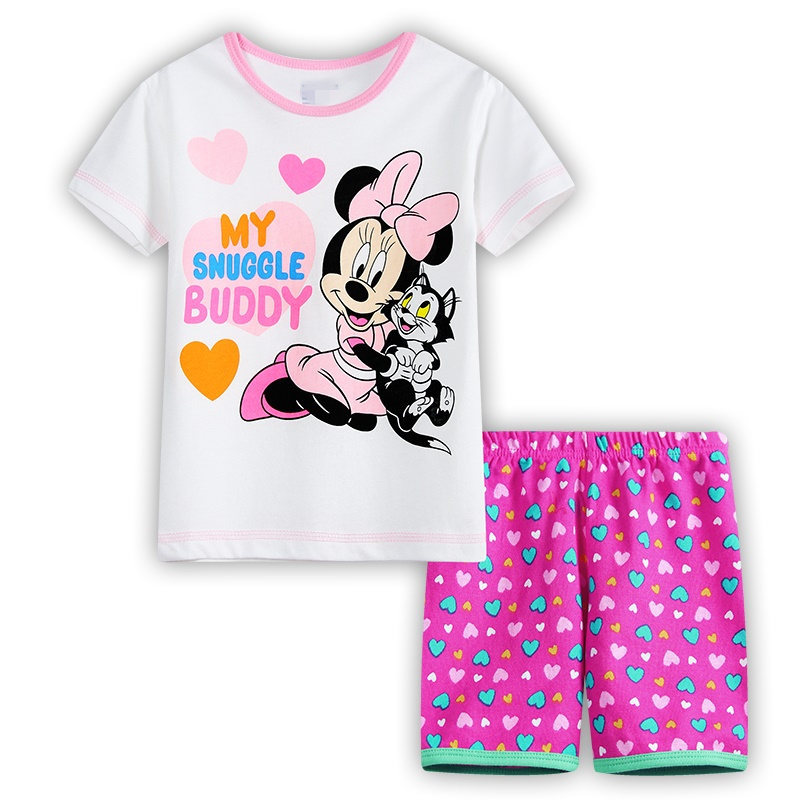 2pcs Princess Kids Baby Girl Minnie Mouse Set Children Summer Casual Fashion Clothes Short sleeve Tops+Shorts Tracksuits Outfits
