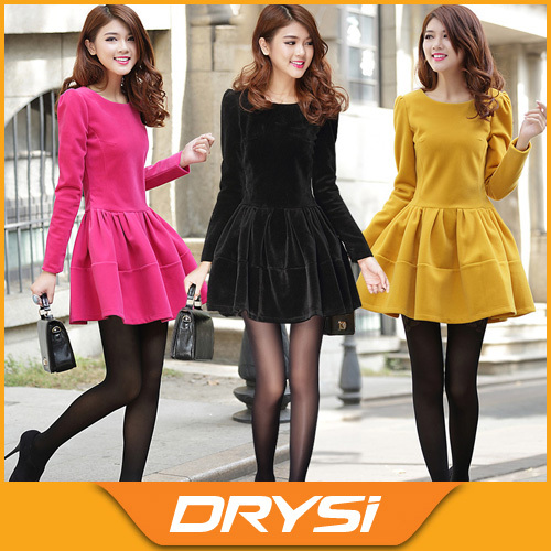 a1765d419d Winter Women's fashionable slim ball gown woolen dress female puff sleeve  velvet one-piece dress black/rose/yellow Free shipping