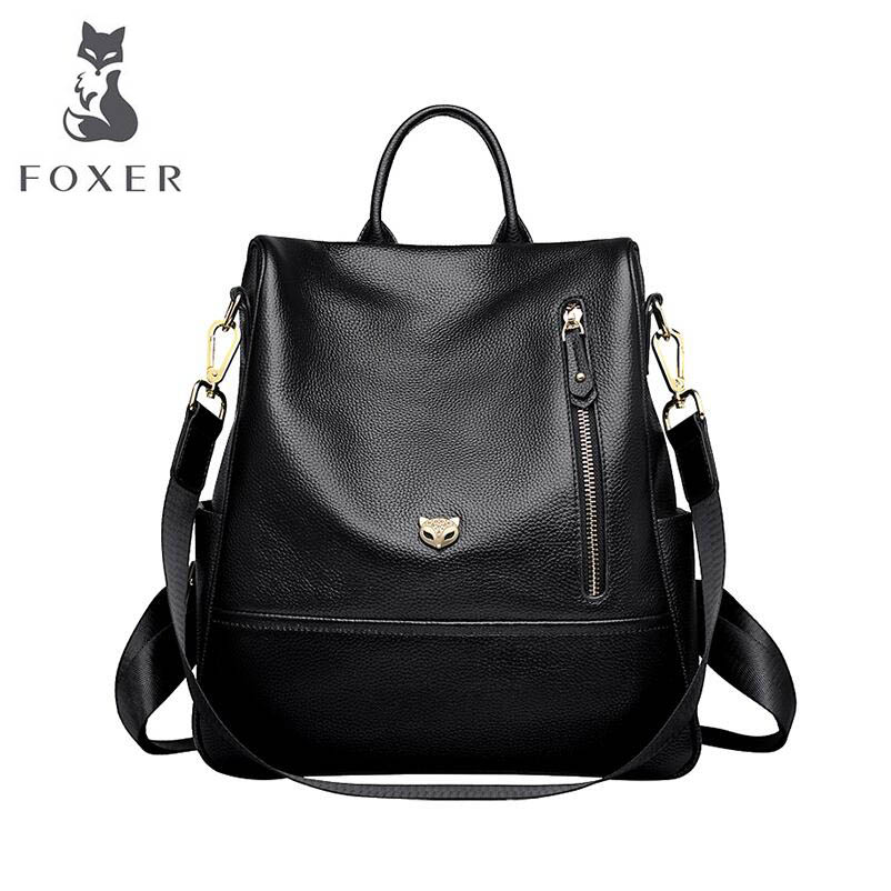 FOXER 2018 New Women Genuine leather bag designer famous brand leather women backpack Casual fashion big capacity backpack недорго, оригинальная цена
