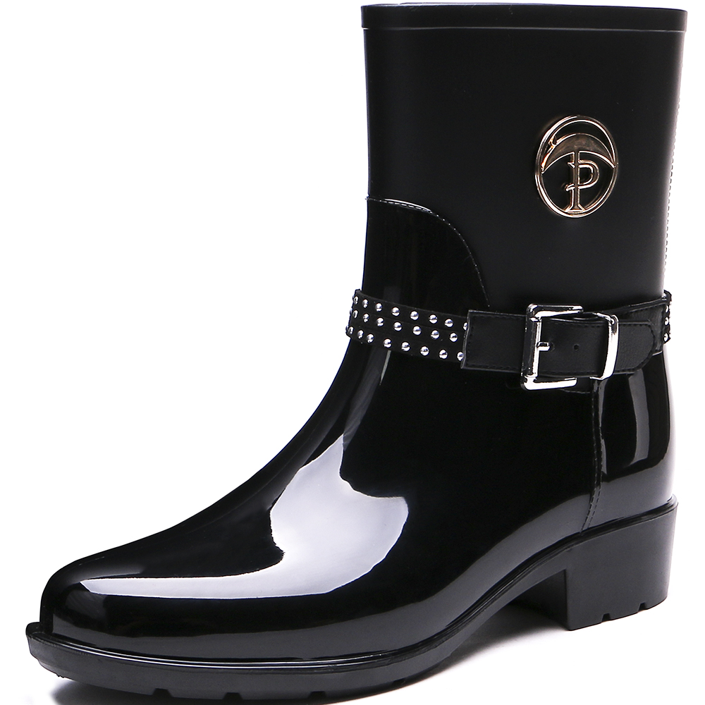 TONGPU New Design Glossy and Matte Finishing Women's Half Boots Waterproof Rain Boots 208-557 french polishing finishing and restoring using traditional techniques