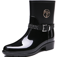 TONGPU New Design Glossy and Matte Finishing Women's Half Boots Waterproof Rain Boots 208-557