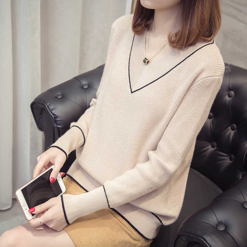 OHCLOTHING Sweater female V female head neck sweater set 2018 new spring collar sweater loose all-match heart-shaped bright silk