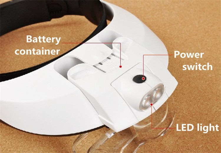 Multi Power LED Iluminación Diadema manos libres Lupa Casco Lupa - Instrumentos de medición - foto 3