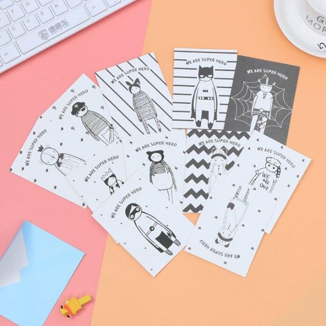 1 pcs Mini Creative cartoon folding message card with envelope ...