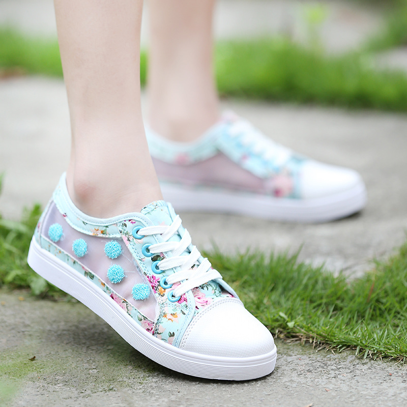 New Summer Shoes For Women Transparent Floral Patchwork Canvas Shoes Woman lace-up Casual Flat Shoes 161311-15