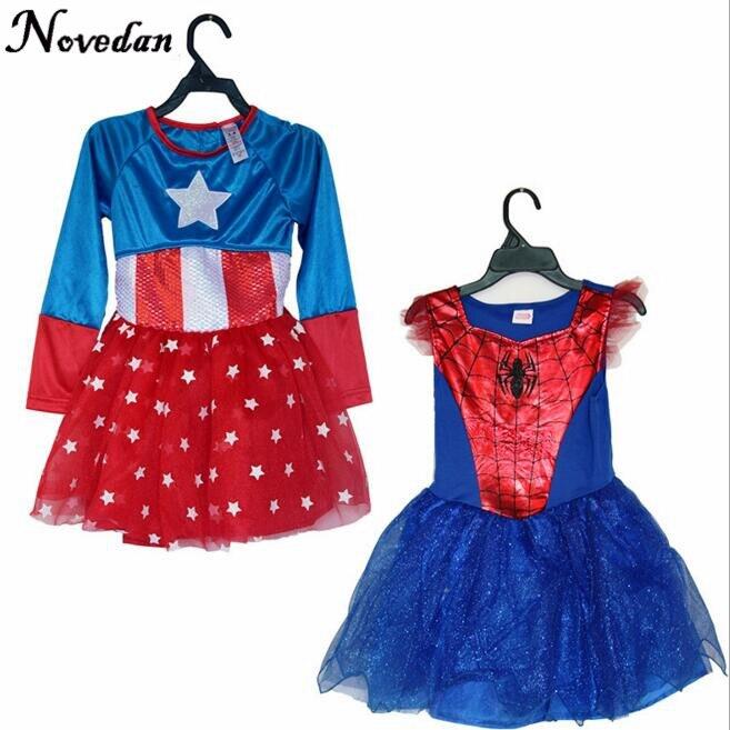 2017 New Child Spiderman Captain America Sexy Girls Super Hero Halloween Costume Cosplay Party For Spider Man Girls Costume Kids