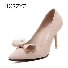 Brand HXRZYZ spring/autumn  butterfly-knot with pearl shoes women fashion 8.5cm super high heels black red beige thin heel pumps