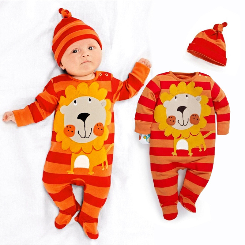 Hooyi Stripe Lion Cute Baby Boys Clothes Newborn   Rompers   Hat Sets Orange Bebe Pajamas Suit Jumpsuit Without Foot