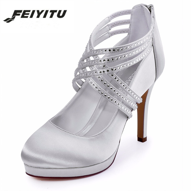 Feiyitu Woman Wedding Bridal Shoes Blue block Heel Closed Toe Mary Jane Lace Bride Lady Bridesmaid Prom Party Pump gray white wedopus mw088 closed toe women green wedding shoes bridesmaid med heel