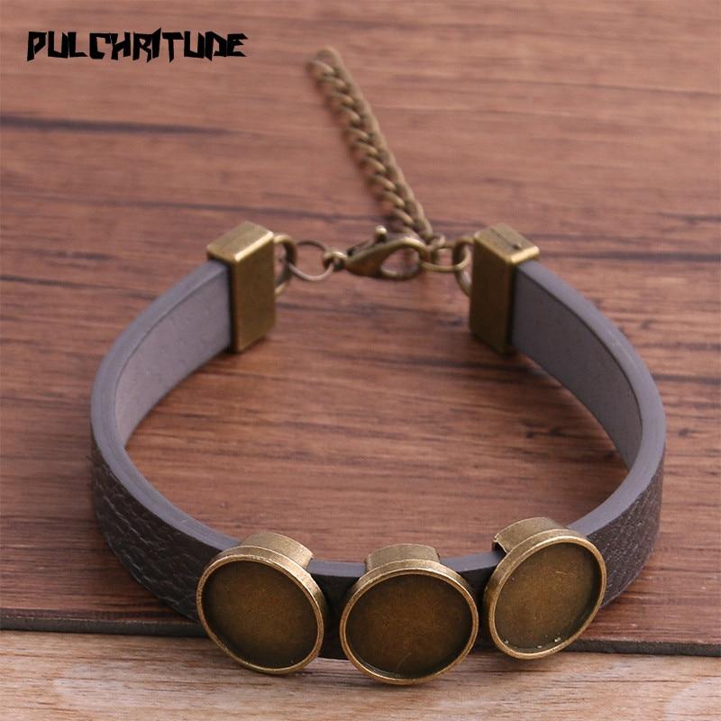 1pcs PU Bracelets Bangles Base Setting Cuff Blank Trays Brazel Fit 12mm*3 Glass Cameo Dome Cabochon DIY Jewelry Findings P6731