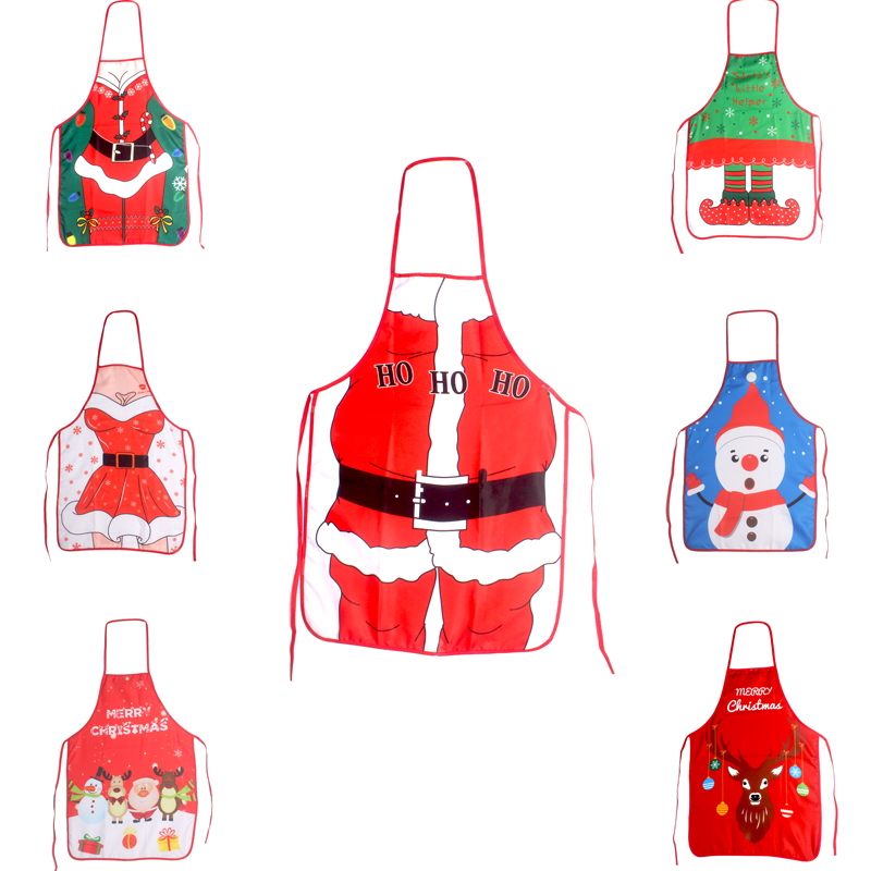 1PC Novelty Cooking Kitchen Apron Funny BBQ Christmas Gift Funny Sexy Party Apron Christmas Decorations For Home