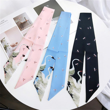 Floral Swan Print Scarf Women Tie Satin Small Neck Ring Scarves Hair Band Girls Head For Neckerchief Fashion