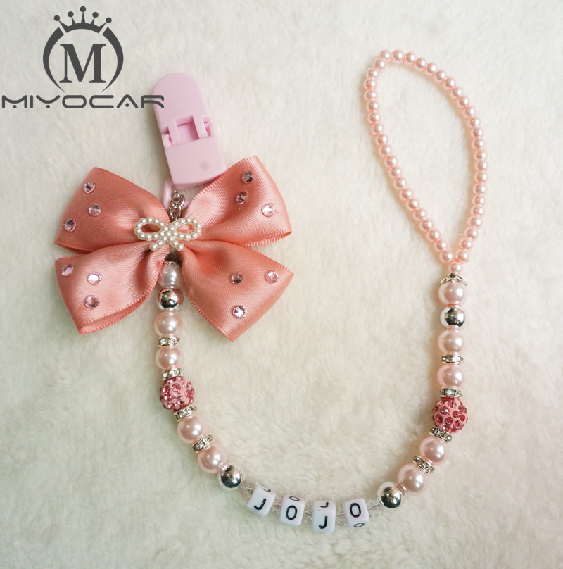 MIYOCAR Any Name Can Make Luxurious Bow Pink And Sliver Beads Dummy Clip Holder Pacifier Clips Holder/Teethers Clip For Baby