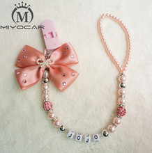 MIYOCAR any name can make Luxurious bow pink and sliver beads dummy clip holder pacifier clips holder/Teethers for baby