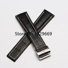 22 mm 24 mm nuevo Mens negro blanco sitching cuero genuino Durable desplegable venda de reloj de la correa de la hebilla pulseras pulsera