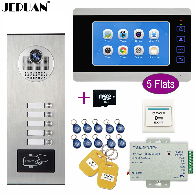 JERUAN Apartment Bell 7`` Video Doorbell DoorPhone Video/Voice Record Intercom System Kit HD RFID Access Camera For 5 Households