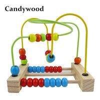 Candywood Baby Early Learning Education Wooden Maze Multi Function Box Round Bead Maze Roller Coaster Toys