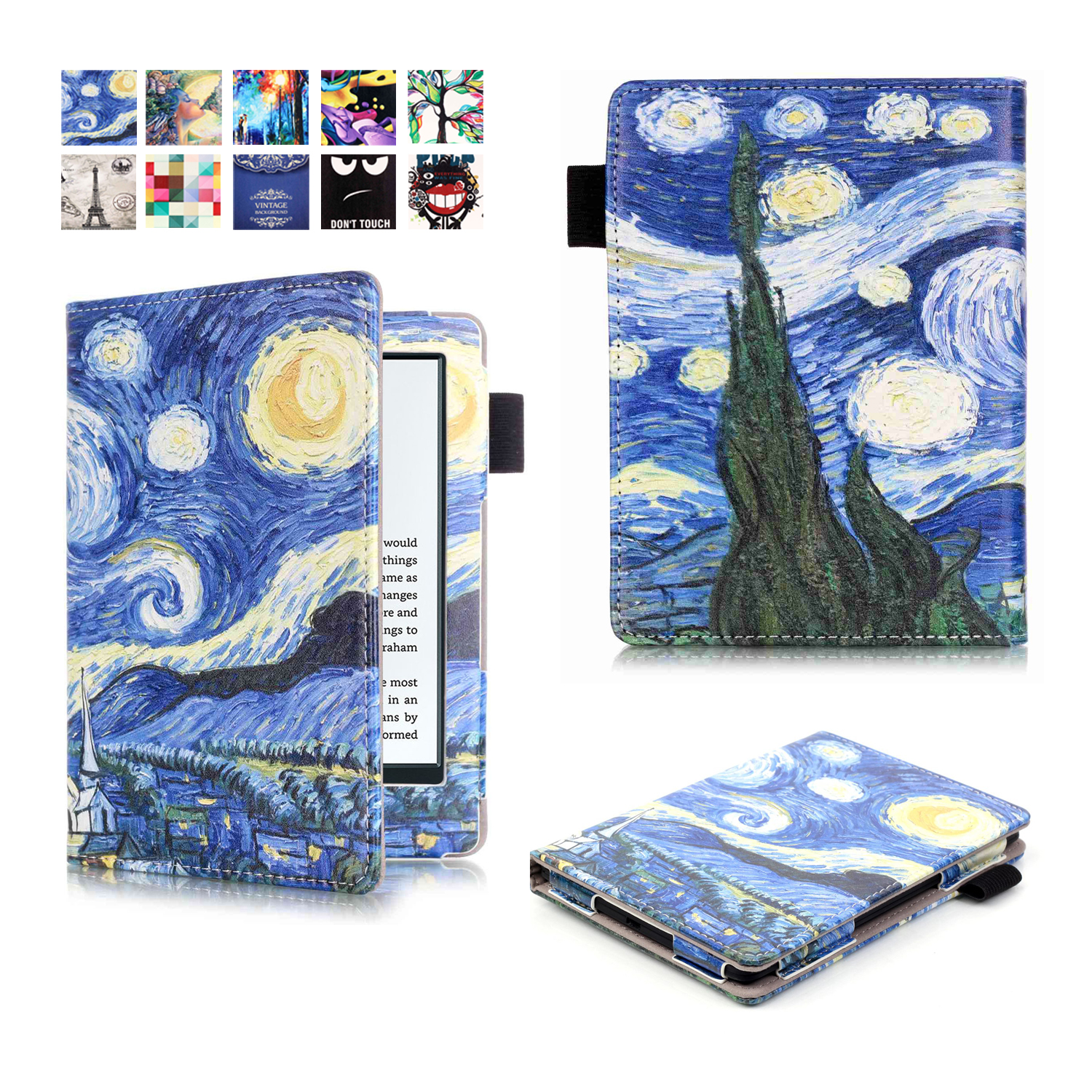 Hot PU Leather Protection Case For Amazon New Kindle 2016 8th Generation 6'' Color Print Flip Cover For New Kindel 558+film+pen