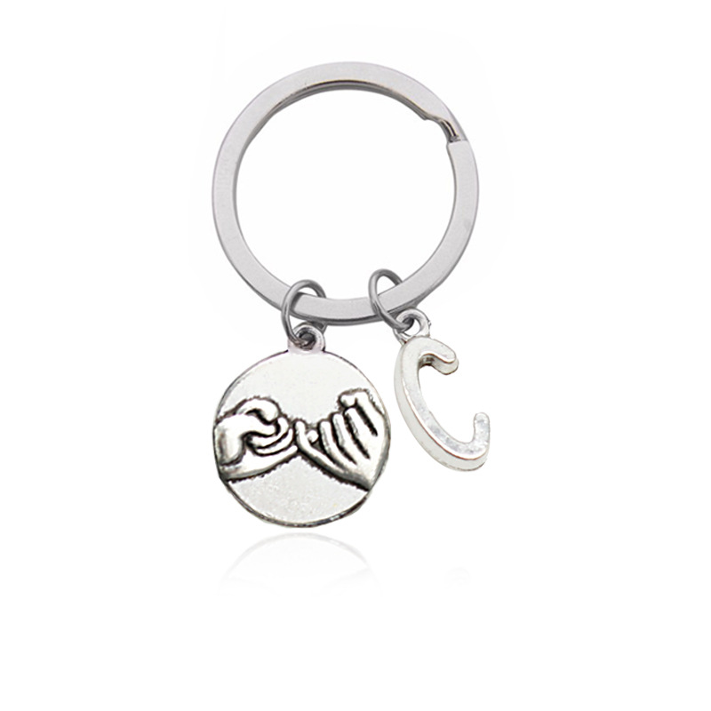 DIY Letters A - Z keychain Silver Color Pinky Promise Pendant Key Chains Simple Letter Name Key Ring for Friends Birthday Gifts
