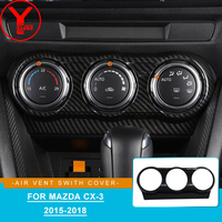 Carbon Fibre Air Condition Vent Outlet Swith Cover For mazda cx 3 cx3 2015 2016 2017 2018 Interior car part accessories YCSUNZ