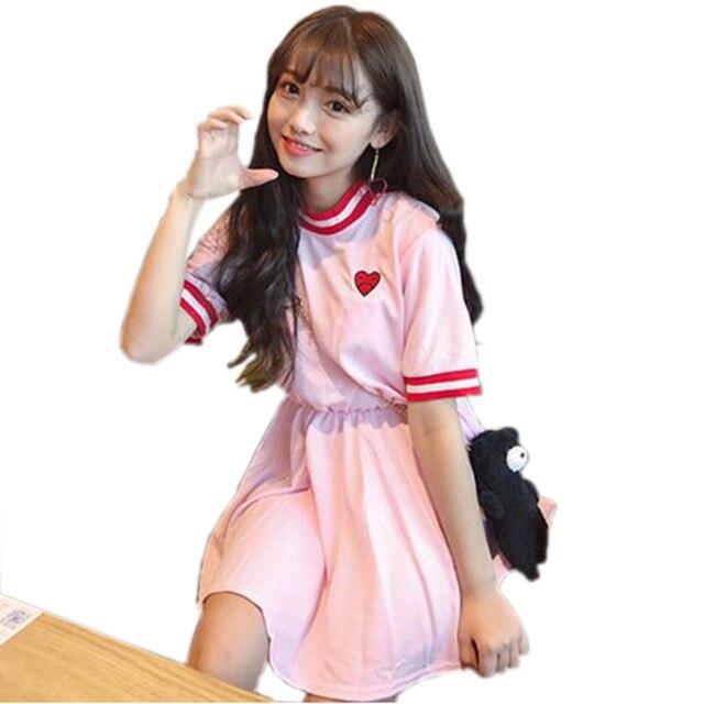 Fiodcrg mujeres japonesas Harajuku manga corta vestido dulce 2018 ...