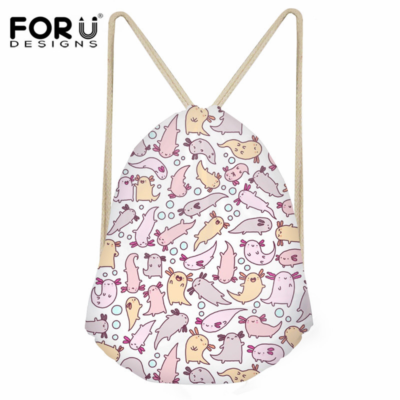 FORUDESIGNS Adorable Axolotls Art Print Children Drawstring Bag Fashion Small Backpack Sack For Kids Girls Boys Casual Cinch Bag