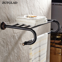 ZGTGLAD 1Pc Hot Sale Black Brass Wall Mounted Bathroom Towel Rail Holder Rack Bar Shelf Home Bathroom Supplies