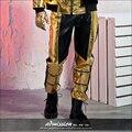 2016 певец костюмы Оригинальный дизайн мужской одежды золотой цвет блока краткое брюки моды черные кожаные брюки мужские ткань