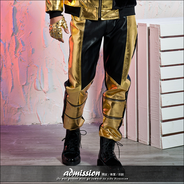 2016 male singer costumes Original design men's clothing gold color block brief pants fashion black leather trousers men's cloth