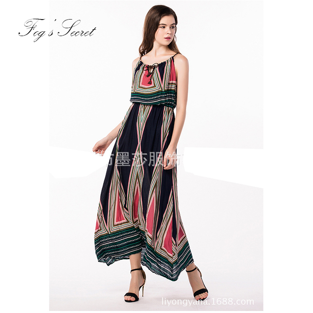 United States Style Large Size Women Dress For Summer Print Casual
