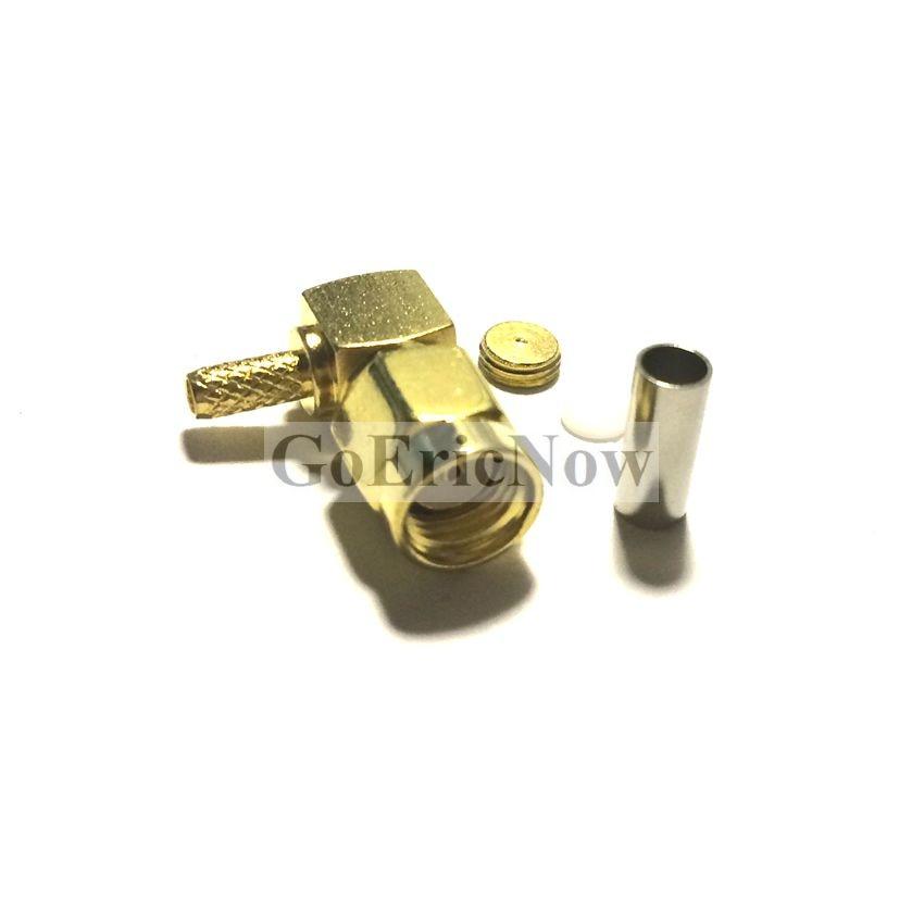 10 pces rf 50ohm coaxial ângulo direito sma/RP-SMA macho para rg316 rg174 cabo conector plug