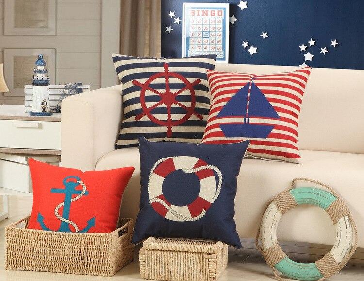 Boat Supplies Printed Cotton Linen Sofa Cushion Cover 45x45cm/17.7x17.7 Throw Decorative Home Wedding Car Seat PillowCase