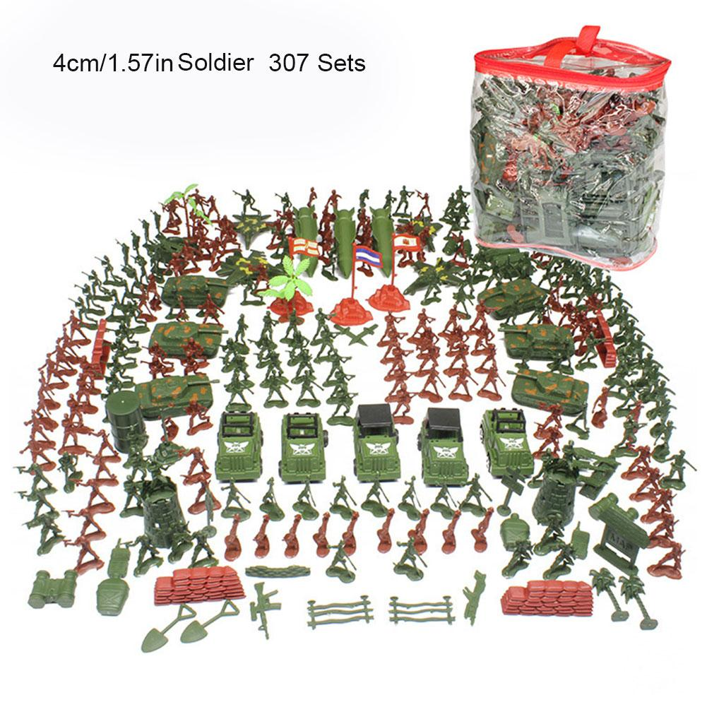307pcs/set 4-9cm Children's Military Toy Soldier Set Sand Table Toys Model Plastic Assemble Tank Soldiers Kits For Children free shipping super affordable military base 310pcs set plastics toy soldier sand table model army soldier boy christmas gifts