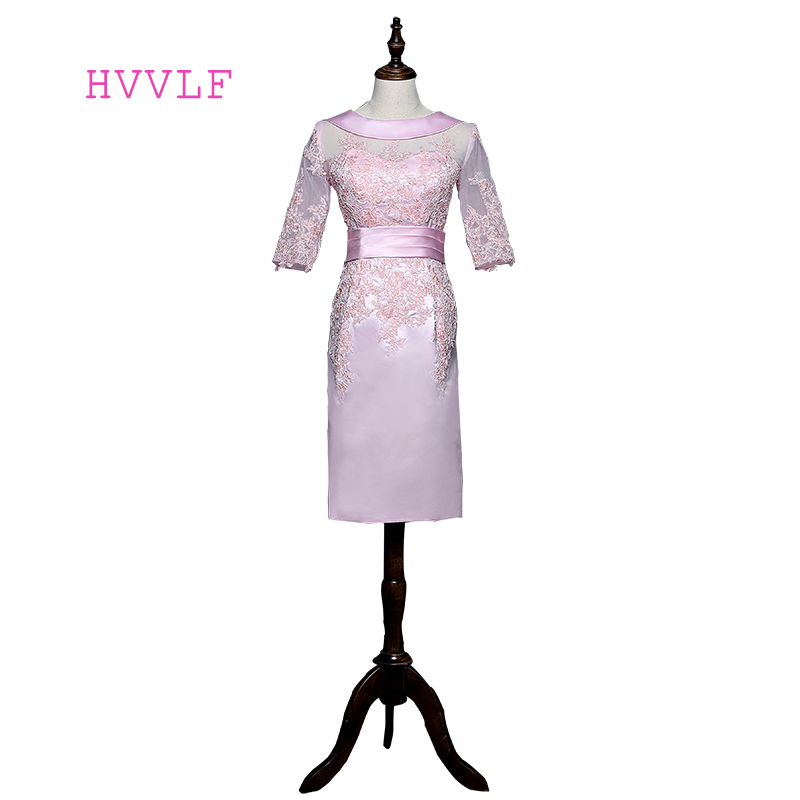Pink Mother Of The Bride Dresses Sheath Knee Length Half Sleeves Satin Appliques Lace Short Mother Dresses For Weddings