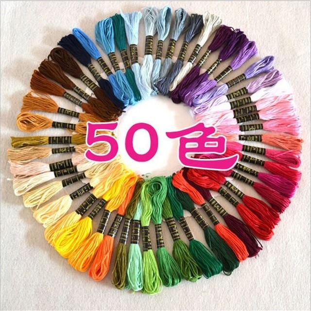 50 Цветов/пакет Оптовая 50 Различных Цветов DIY Вышивки Крестом Швейных Ниток Проволоки Нити Швейные Ремесло Вышивка