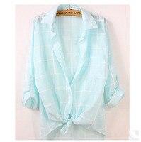 2015 Hot Sell Fashion Women Blouses New Arrival Casual Women Shirt Cotton Plaid Women Tops Turn