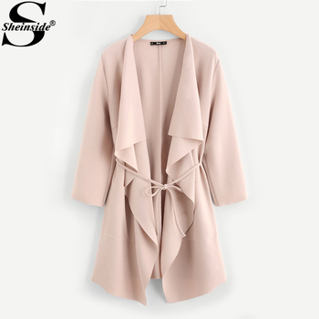 Sheinside Waterfall Collar Pocket Front Wrap Work Wear Trench Peach 3/4 Sleeve Apricot Knee Length With Belts Office Women Coat
