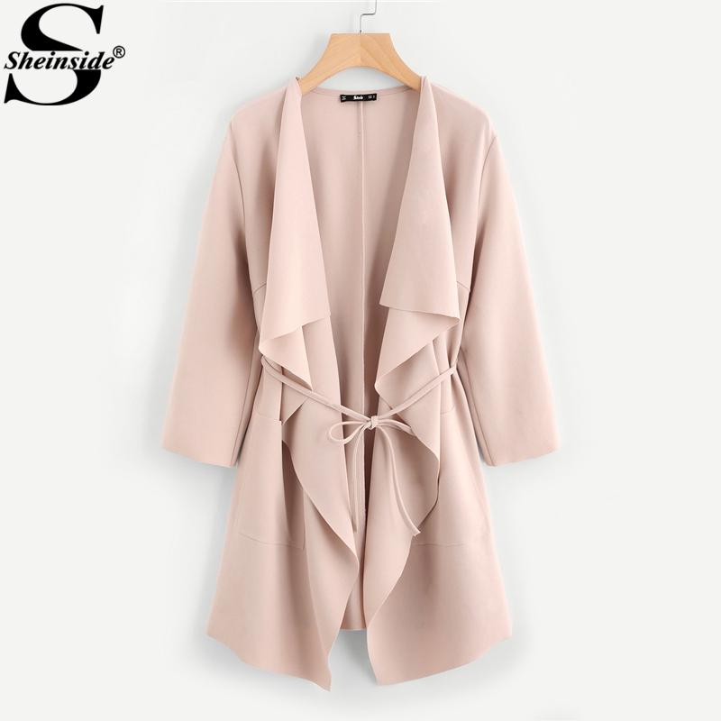 Sheinside Waterfall Collar Pocket Front Wrap Work Wear Trench Peach 3 4 Sleeve Apricot Knee Length