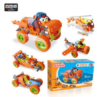 5 IN 1 Cartoon Toy Car Aircraft Variable Building Blocks Trending Flexible Tool Assembly Toy With