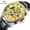 BINSSAW Dress Skeleton Watch Men Top Brand Luxury Mechanical Wrist Watch Waterproof Automatic Men Watch Leather