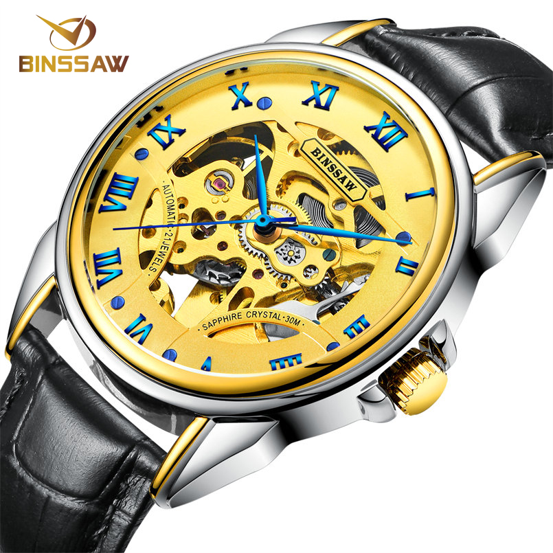 BINSSAW Dress Skeleton Watch Men Top Brand Luxury Mechanical Wrist Watch Waterproof Automatic Men Watch Leather Strap Male Clock вытяжка каминная gorenje whgc933e16x