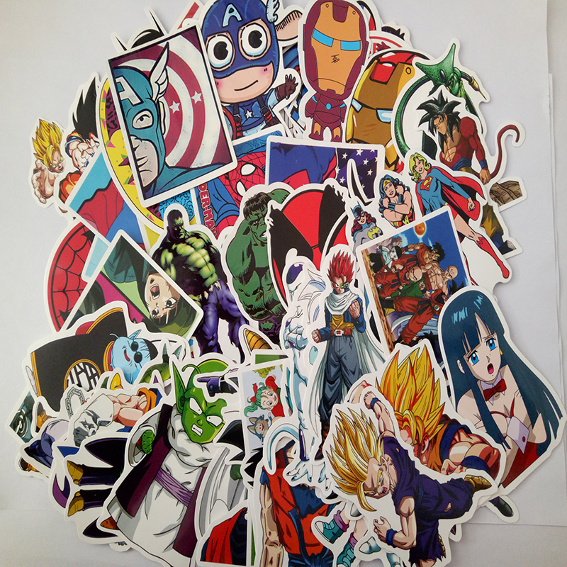76pcs Decal Graffiti Stickers 2 Styles The Avengers & Dragon Ball For Laptop Luggage Skateboard Car Bicycle Stickers