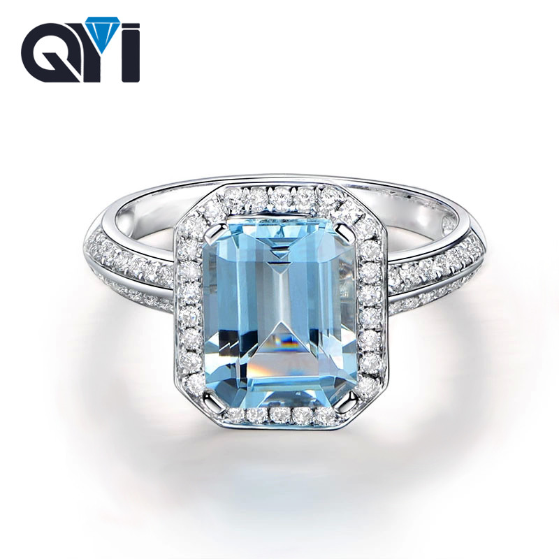 QYI Natural Sky Blue Topaz Emerald Cut 1.5ct Solid 925 Sterling Silver Ring Gemstone Halo Engagement Ring For Women Fine Jewelry helon sterling silver 925 flawless 11x9mm emerald cut 4 36ct real blue topaz natural diamond engagment wedding ring fine jewelry