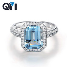 QYI Natural Sky Blue Topaz Emerald Cut 1.5ct Solid 925 Sterling Silver Ring Gemstone Halo Engagement Ring For Women Fine Jewelry