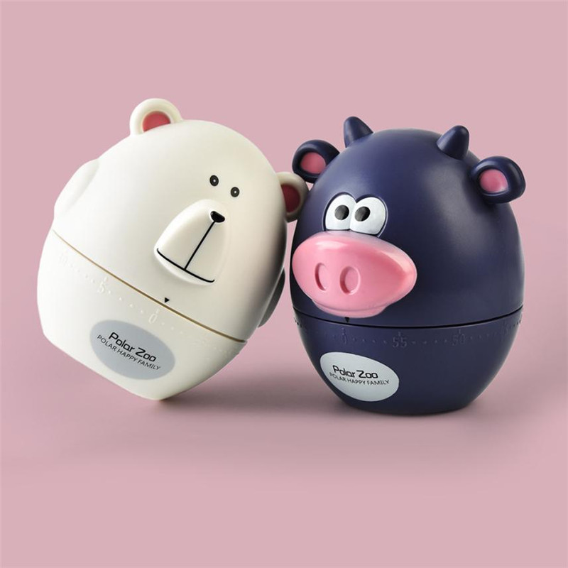 Max 60 Minutes Polar Zoo Pig Kitchen Timer Cute Cartoon Cooking Time Reminder Mechanical