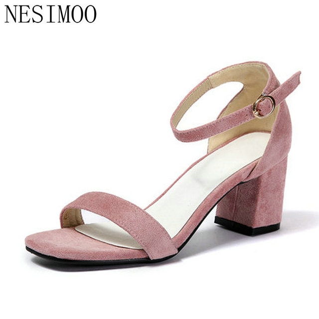 NESIMOO 2018 Women Pumps Square Med Heel Flock Fashion Women Shoes Platform  Buckle Square Toe All f856f3a7cb8f